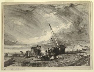 Horizontal view of a cloudy sky and a beached boat with nets and baskets being removed at right of center; with three men and a horse in left foreground; and chalk cliff and breakwater with beached boats in right background.