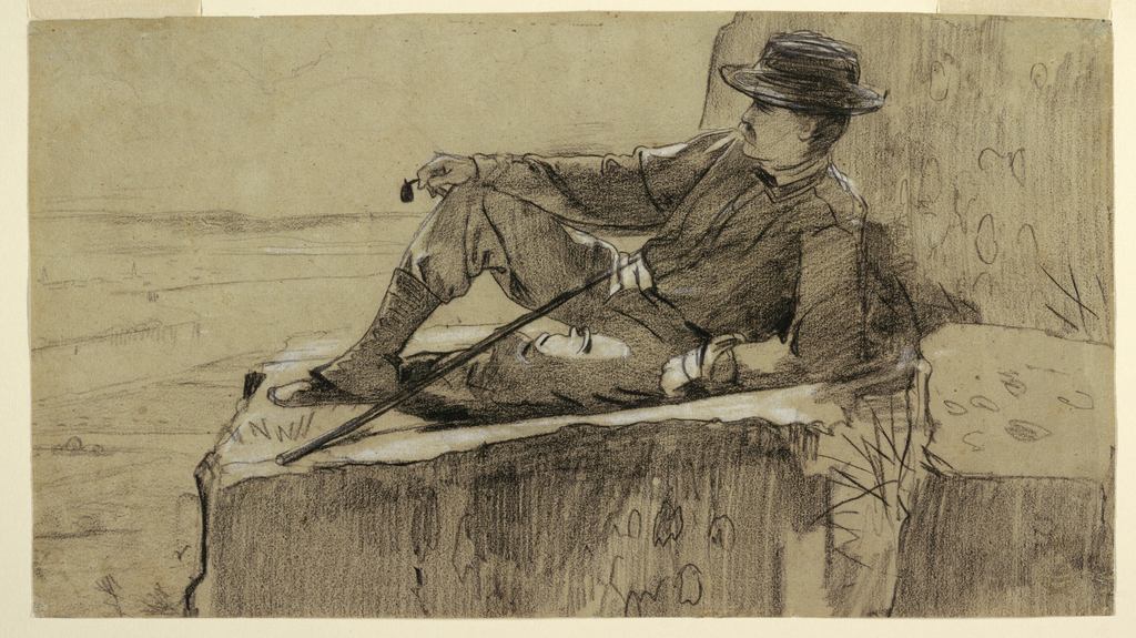 Horizontal view of a mustached man dressed in hiking attire reclining on his left elbow on a flat ledge of rock and holding in his right hand a turned-over pipe, as a walking stick leans across him from right to left, with the prospect of wide river valley in distance behind him.