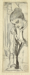 Vertical view of a portion of a woman, dressed in a skirt, shirtwaist, and cravat, leaning forward and looking down.