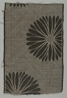 Gray ground with a black and brown diaper pattern and large-scale black chrysanthemums.