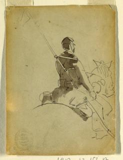 Vertical rear view of a lancer on horseback.