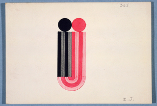 """Monogram comprised of a black lower-case """"i"""", conjoined with a red lower case """"j"""", whose curved element attaches to the bottom of the """"i"""". Each letter composed of alternating vertical solid lined stripes surmounted by a circle."""