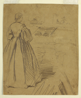 Recto: Vertical view of a woman standing at a square piano, with a open book of music on its rack, and indications of two pictures haning on a wall behind.  Verso: Two mourning women, with one resting her head on the shoulder of the other, in the opposite direction from recto; as well as a part of a sketch of a woman seen obliquely from the right back, and a sketch of the right hand of another women is shown on her right hip, horizontally across the bottom edge.
