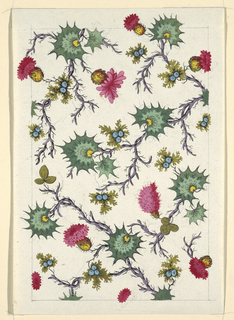 Spikey green cactus-like forms, red flowers, blue berries on purple twisted branches on white ground. Graphite lined border.