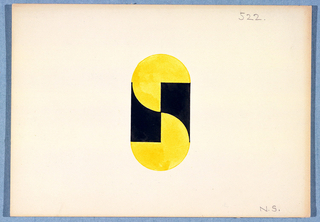 "Elipse-shaped monogram comprised of a yellow ""S"" intersected by a black ""N""."