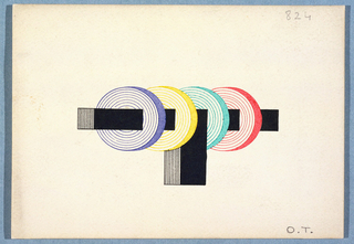 """Monogram comprised of a """"T"""" in solid black and black lines drawn in perspective, four """"O""""s, each of a different color, drawn in perspective and threaded through the horizontal element of the """"T""""."""