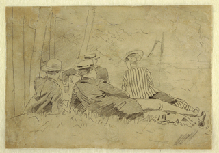 Horizontal view of three men and one woman, lying on the ground before trees.