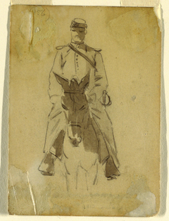 Vertical view of the officer and the head of the horse seen in full face.