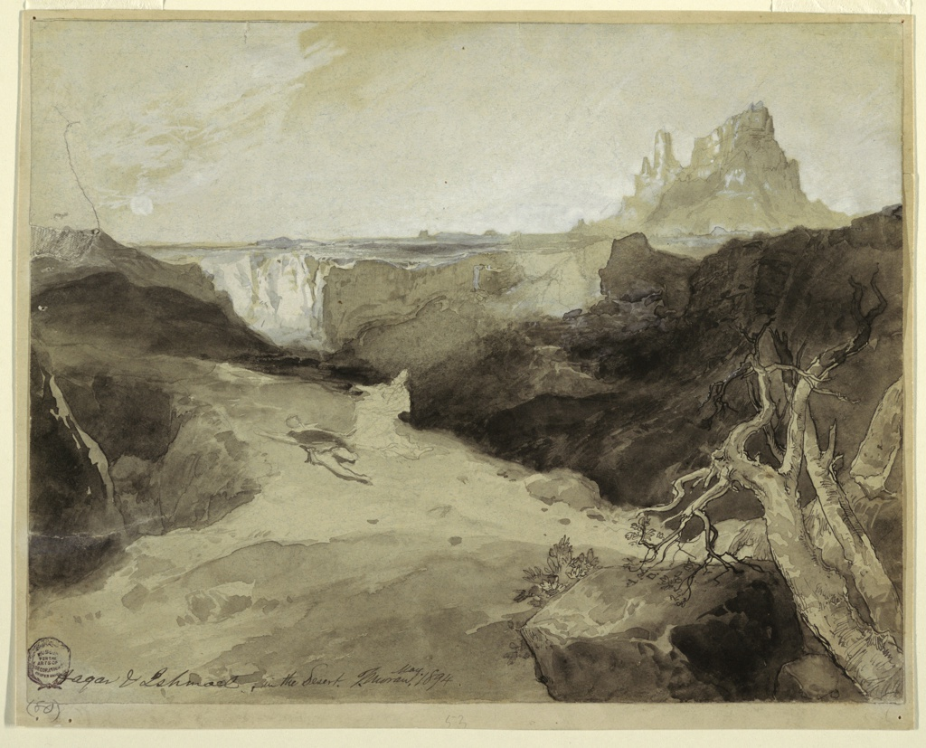 Recto: Horizontal view of the reclining Ishamel and the kneeling Hagar in left center.  A gnarled and balsted tree, and boulders are in the right foreground.  A plateau with a canyon and at right, castellated rocks form the background.  Mount: originally contained two mountain landscapes sketched on verso [see curatorial remarks, Berliner 1942].