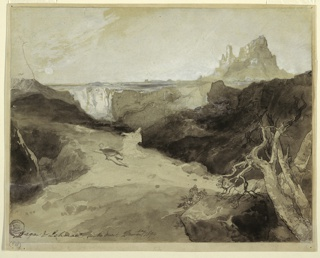 Recto: Horizontal view of the reclining Ishamel and the kneeling Hagar in left center.  A gnarled and balsted tree, and boulders are in the right foreground.  A plateau with a canyon and at right, castellated rocks form the background.