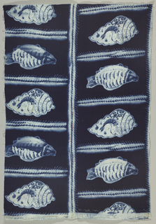 Dark blue ground with alternating conch-chells with painted decoration and fish, each framed in a rectangle by herringbone-like bands. White and soft blues.