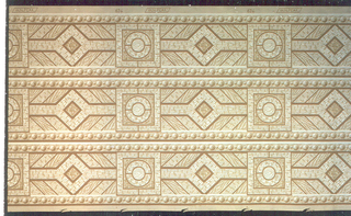 Printed three across: wood grain design of parquet flooring. Circle within a square alternating with a diamond shape. Strung beads run along either edge of borders.
