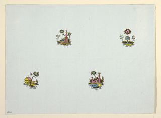 Horizontal rectangle or four vignettes.  Upper left, a pink fountain; upper right, an urn containing a flowering tree; lower left, yellow house; lower right, a pink garden wall and two ducks in a pond.
