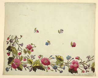 Floral border design, pink flowers, green leaves, scattered buds on field above on white ground.