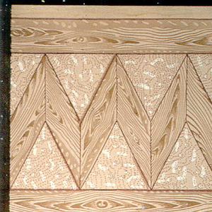 Printed two across, wood grain design similating parquet floor, in zig-zag pattern.