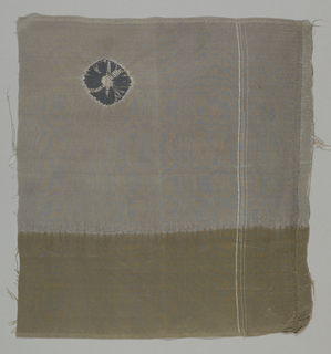 Gray fragment with a wide horizontal band of olive green along the bottom edge has tie-dyed purple chrysanthemum in the upper left-hand corner.