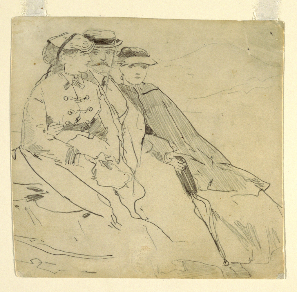 Horizontal view of a woman, man and young woman seated side by side with a mountain in the background.