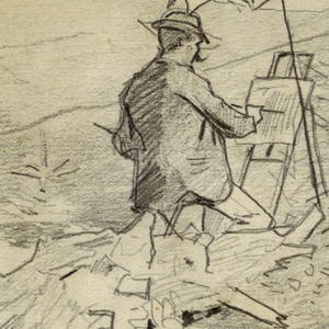 Horizontal scene of two male figures (artists), with easels and umbrellas, painting on a hillside overlooking distant hills and mountains. Verso: Vertical sketch of two male heads of soldiers, parts of other sketches, one of which is invalidated; another very rough one shows a bust portrait.