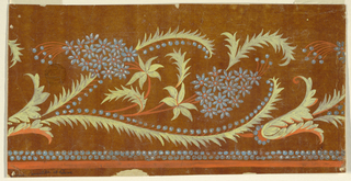 Rinceaux with clusters of flowers and leaves, two of which show rows of seeds at one side. Two rows of beads and a stripe are at the bottom. Somewhat more than one repeat is shown.