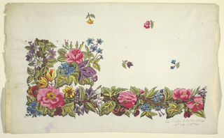 Floral border design, pink pansies, blue bells, green leaves, scattered buds on field above, on white ground.