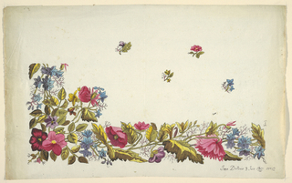 Floral border design, multi-colored flowers, scattered buds on field above. On white ground.