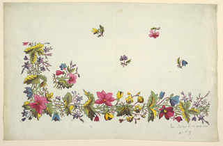 Floral border design, pink, yellow, blue flowers, green and yellow leaves. Scattered floral sprigs on ground above border.