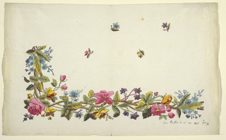 Floral border design, pink, blue and purple flowers, green leaves, scattered buds on field above, on white ground