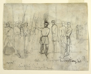 Horizontal view of officers and faintly indicated lines of soldiers.