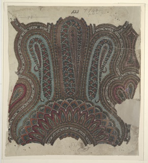 Vertical format design for a paisley machine-woven shawl. Design shows semicircular arrangement of leaf forms and shaped panels with paisley cone motifs, in dark colors on green ground.