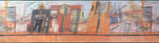 Geometric shapes, possibly street scene, with look of pastels.