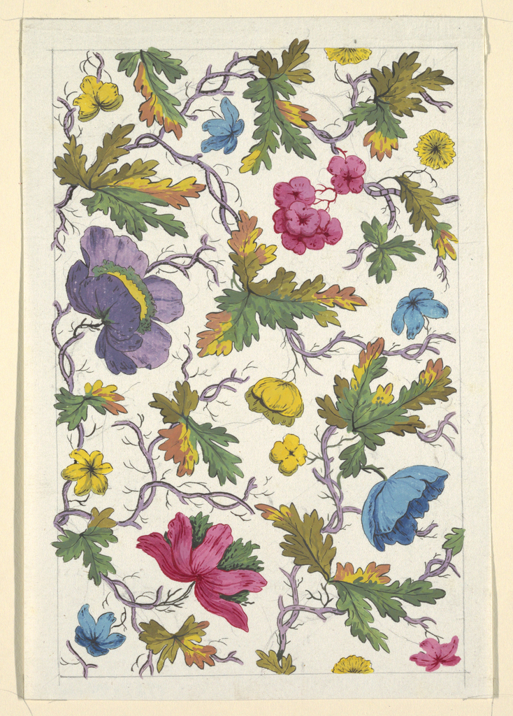 Multi-colored flowers, green and yellow leaves on lilac branches, white ground, graphite lined border.
