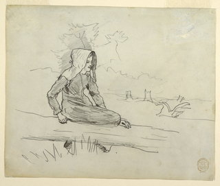 Horizontal view of a girl wearing a sunbonnet seated on a fallen tree trunk; tree stumps and a plow are visible in the background.