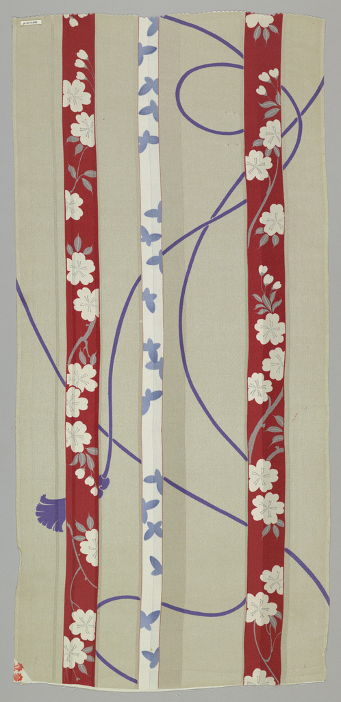 Ivory ground with woven satin stripes has a design of vertical tapes in a floral pattern: one with white flowering branches on a red ground; the other white with light blue flowers. A purple tasseled cord meanders around the tapes.