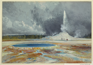 Horizontal view of a geyser, with tiny figures at its base, spewing water beneath a cloudy sky in the middleground, while visible in the left foreground is a basin and in the left distance a line of green trees.