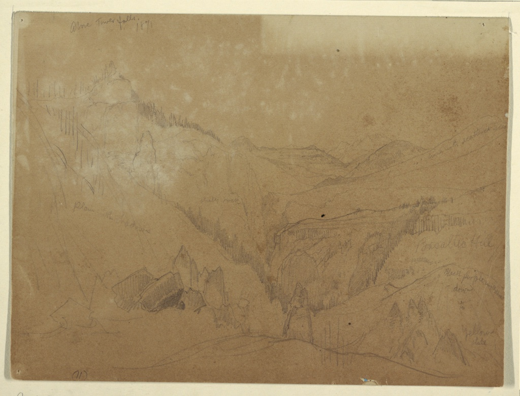 Recto: Horizontal view of valley above Tower Falls, Yellowstone. Verso: Horizontal view of falls at middle left among tower like rock formations with mountains in background.