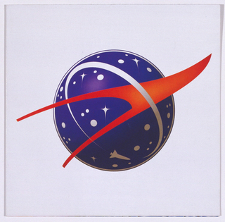 Rave card depicting a NASA-like logo, with a blue planet and a red swoosh across it.