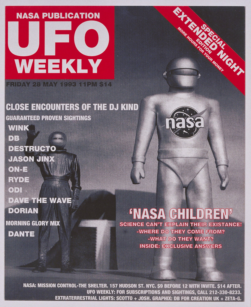 Rave card with photographic depiction of an astronaut in the right foreground and an extraterrestrial waving in the left background. Allover text in white. Title in the upper left corner on red: NASA / PUBLICATION / UFO / WEEKLY.