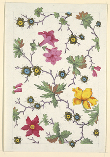 Pink, yellow and red flowers, green leaves on purple branches on whtie ground. Graphite lined border.
