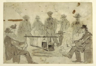 "Recto:   Horizontal view of a campfire with soldiers grouped about it. Verso:  Trial lettering for caption of the illustration, ""Songs of the War,"" published in Harper's Weekly, November 23, 1861."