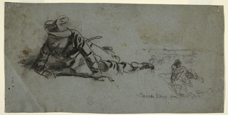 A wounded soldier attempts to rise off the ground. Vague sketches of figures appear at right.