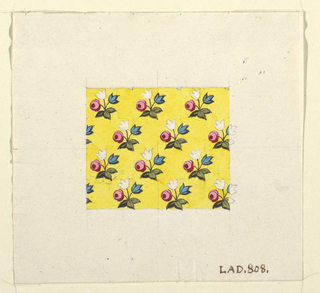 Small clusters of pink, white and blue. Flowers on yellow ground, graphite grid.
