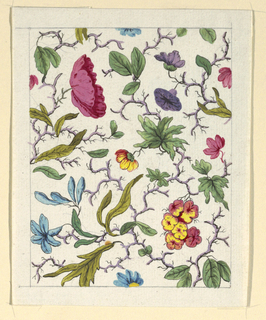 Multi-colored floral pattern on white ground, line graphite border.