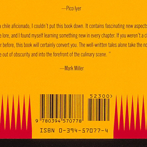 Book jacket for Peppers, by Amal Naj, published by Alfred A. Knopf. Front cover depicts a red chili pepper on a yellow background with a brown rectangular space at top and a spiky red pattern at bottom. Text above, in red on a yellow oval: Peppers; in black on a white rectangle: AMAL NAJ; curving upward on both sides below the pepper, in black: A STORY OF HOT PURSUITS. Back cover depicts a red and yellow circular design featuring a dark center and three chili peppers. Text above, in red on brown: ADVANCE PRAISE FOR; in yellow on brown: PEPPERS.