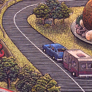Depiction of a blue car with a trailer attached, driving down a winding two-lane road in the countryside. Along the side of the road there is a section of fence, a road sign, and trees, along with plates bigger than houses holding various foods: soup, rice, corn, chicken, tomatoes, waffles, cake, and fish. Text above, in black on orange rectangle: Flavors and memories of America's hometowns/ SLOW FOOD; below, in black on orange rectangle: MICHAEL JAMES.