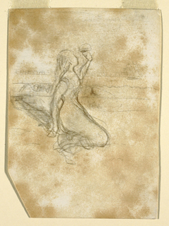 Recto:  Vertical view of a woman kneeling on beach, facing right, with her left arm               raised and a fleet of fishing boats in the background. Verso:  View of girls' legs standing and kites.