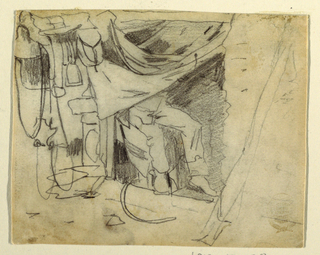 Horizontal view of the doorway on an army hut, with the curtain drawn up revealing  part of the figure of a soldier seated within, and of a saddle hanging on a pole projecting from the hut.