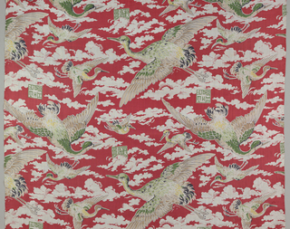 Design of flying birds and clouds against a bright red ground.