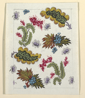 Multi-colored leaf and berry design on white ground, lined graphite border.