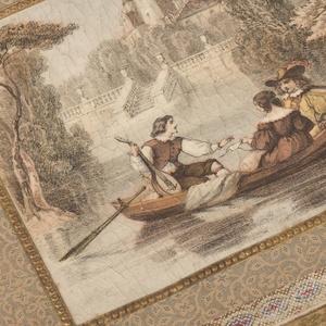 Rectangular, covered with beige paper printed with blue lines and dots. On cover, romantic scene of 17th-century lovers and troubadour in boat. Cover edged with blue-and-red printed guilloche border, and embossed gold. Inside, lithograph of Chateau Montesquien.