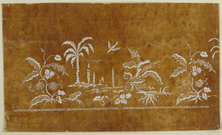 A horizontal row, composed of a landscape with four trees of which one is a palm, and with a flying bird, is flanked by two fantastical plants with bunches of seeds of different designs. One unit and the left part of another are shown. A row of beads is at the bottom.
